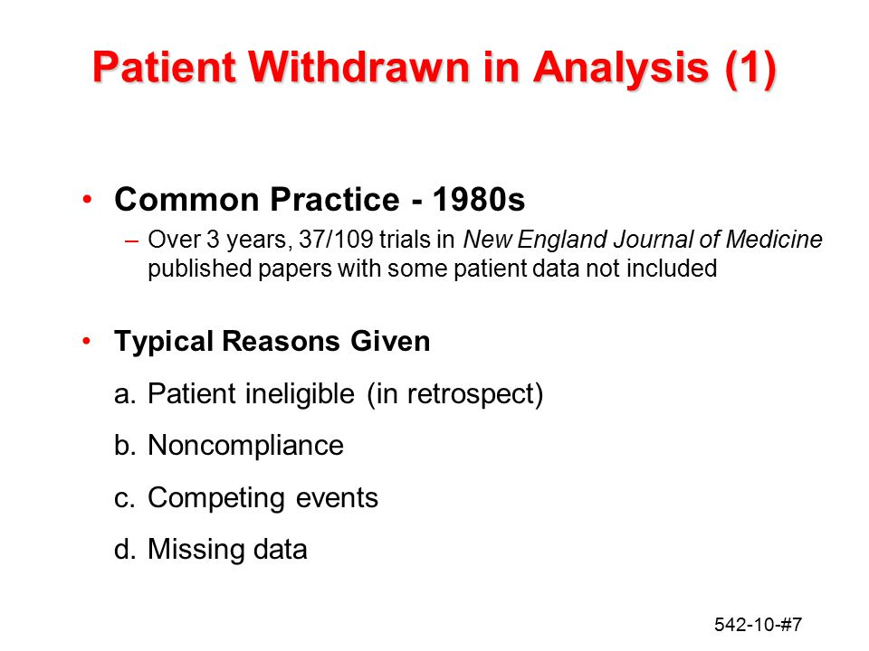 Patient Withdrawn in Analysis (1)