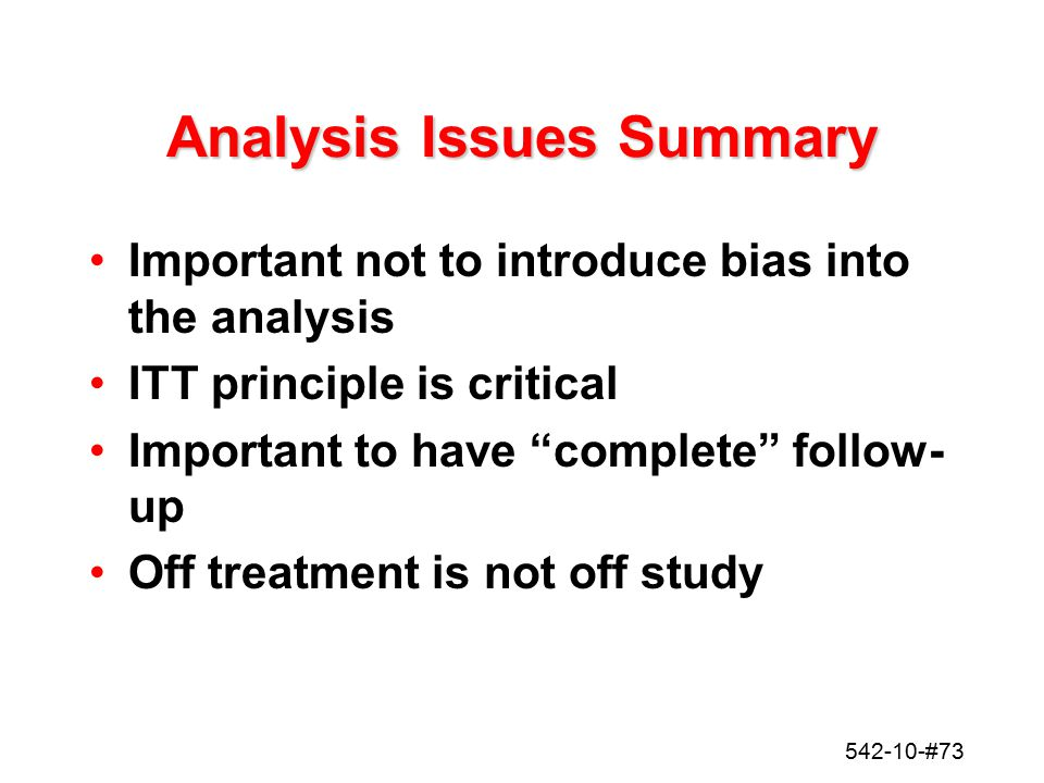 Analysis Issues Summary