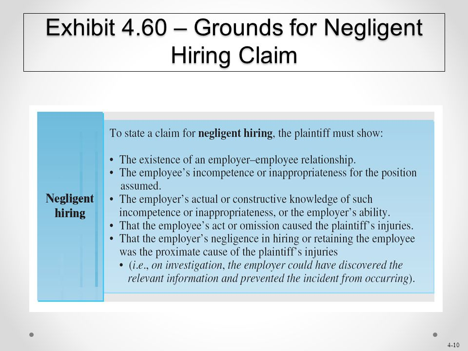 Exhibit 4.60 – Grounds for Negligent Hiring Claim