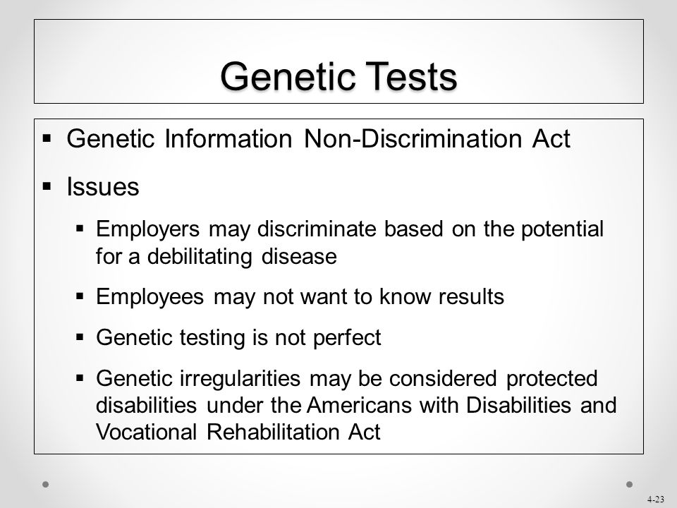 Genetic Tests Genetic Information Non-Discrimination Act Issues