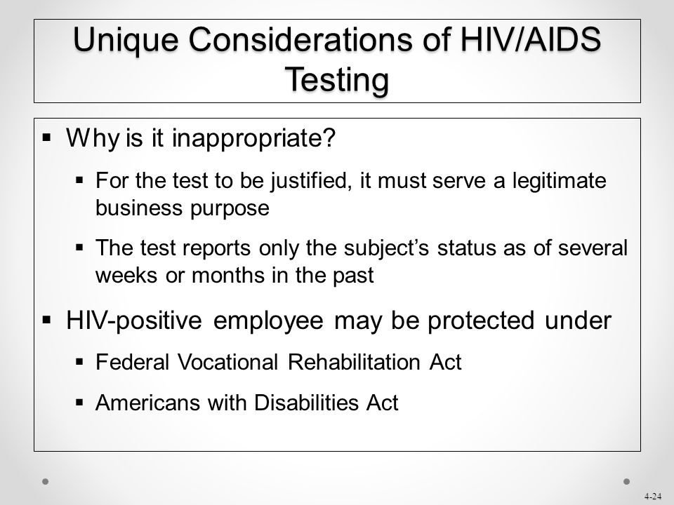 Unique Considerations of HIV/AIDS Testing