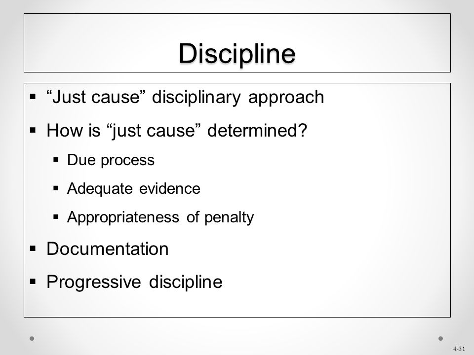 Discipline Just cause disciplinary approach