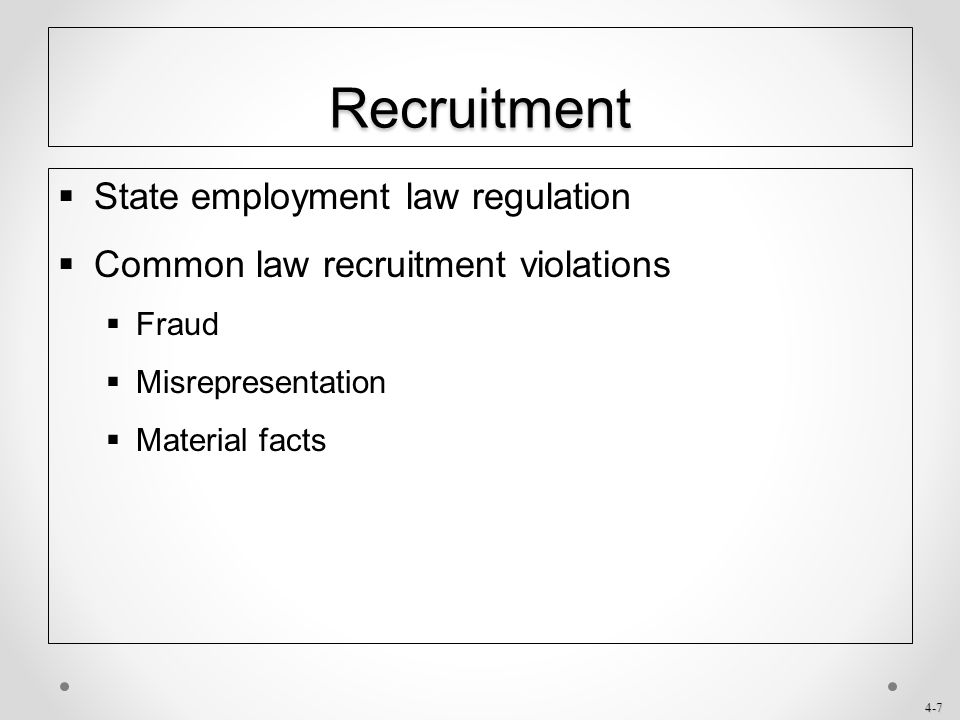 Recruitment State employment law regulation