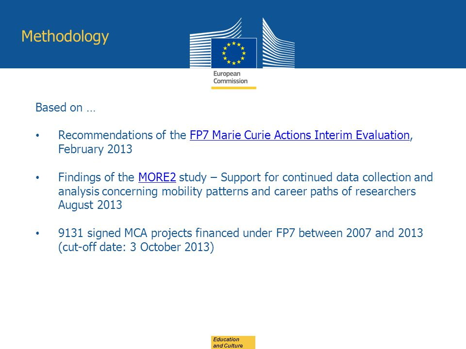Methodology Based on … Recommendations of the FP7 Marie Curie Actions Interim Evaluation, February 2013.