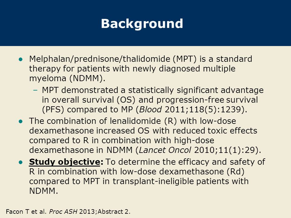 Background Melphalan/prednisone/thalidomide (MPT) is a standard therapy for patients with newly diagnosed multiple myeloma (NDMM).