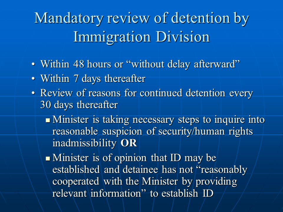 Mandatory review of detention by Immigration Division