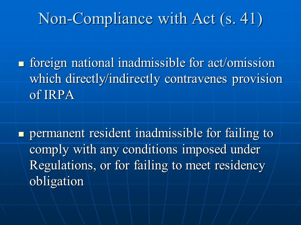 Non-Compliance with Act (s. 41)