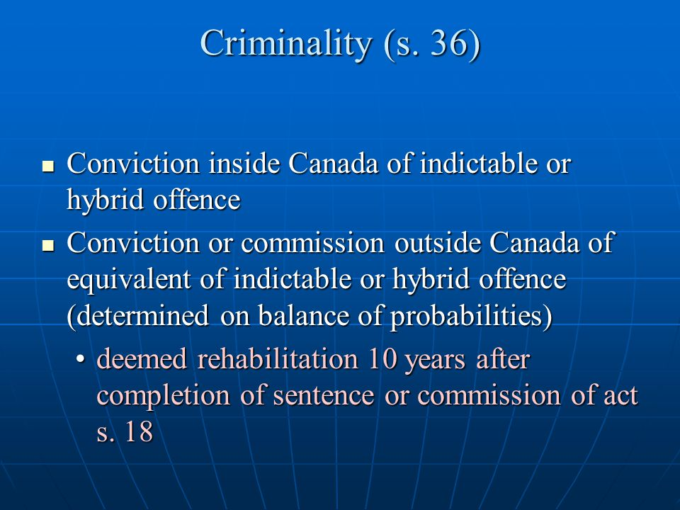 Criminality (s. 36) Conviction inside Canada of indictable or hybrid offence.