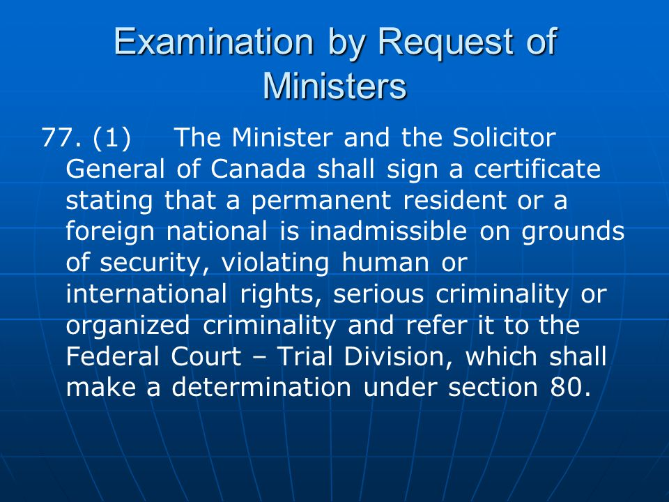 Examination by Request of Ministers