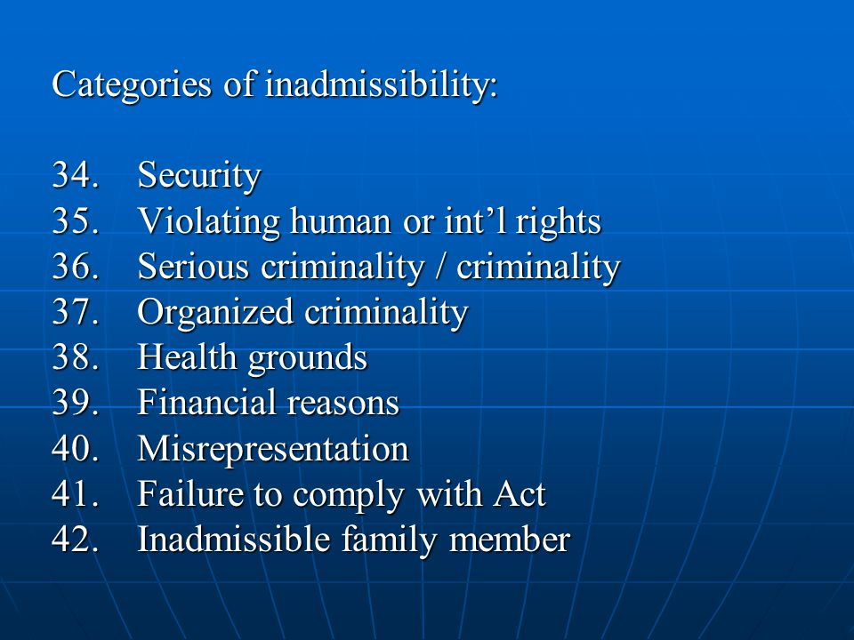 Categories of inadmissibility: