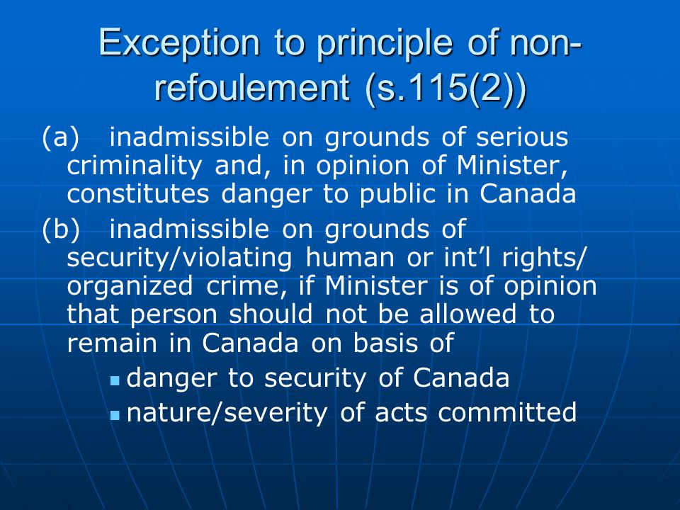 Exception to principle of non-refoulement (s.115(2))