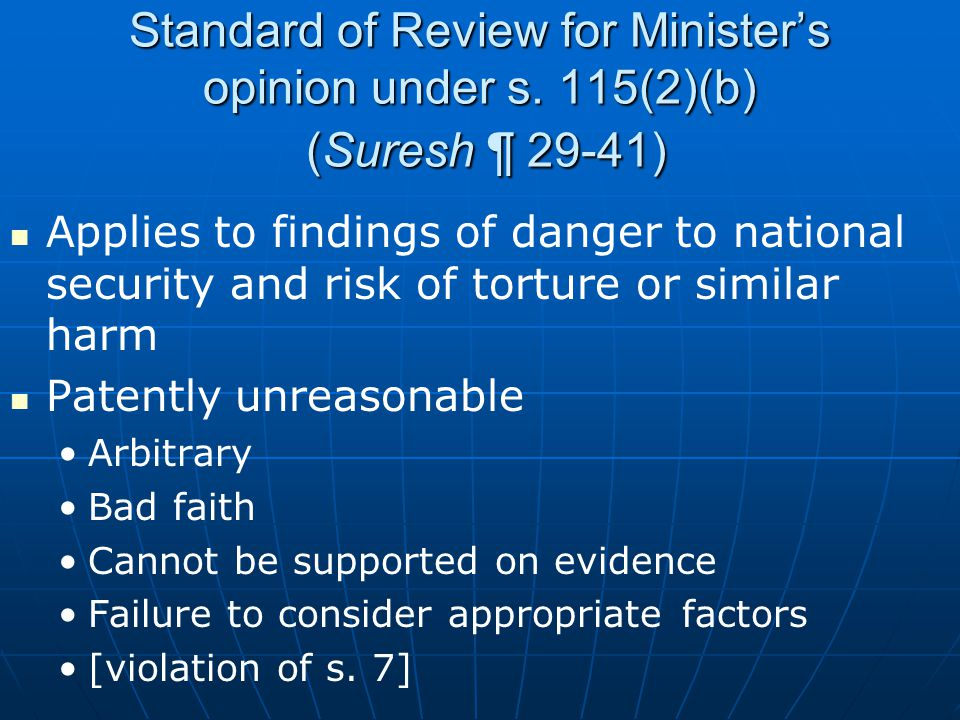 Standard of Review for Minister's opinion under s