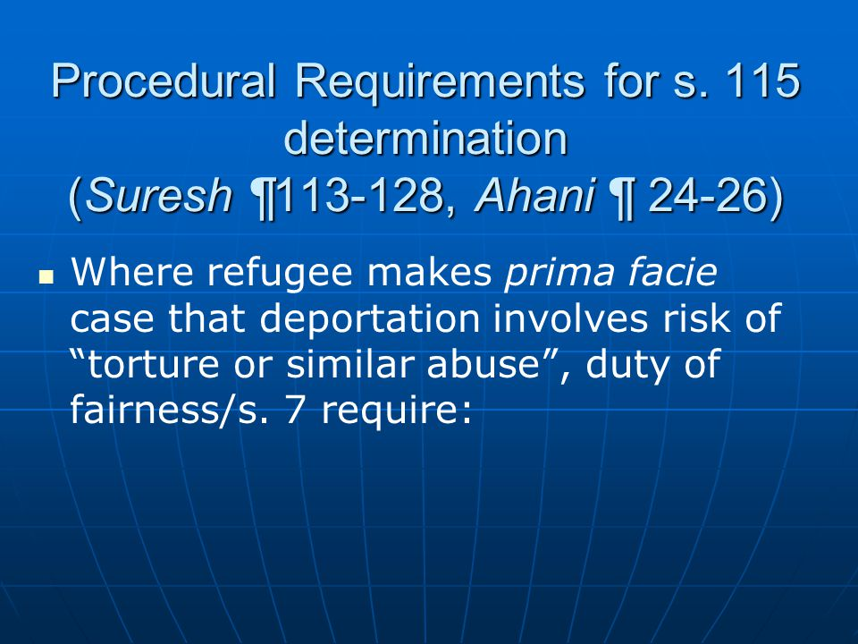 Procedural Requirements for s