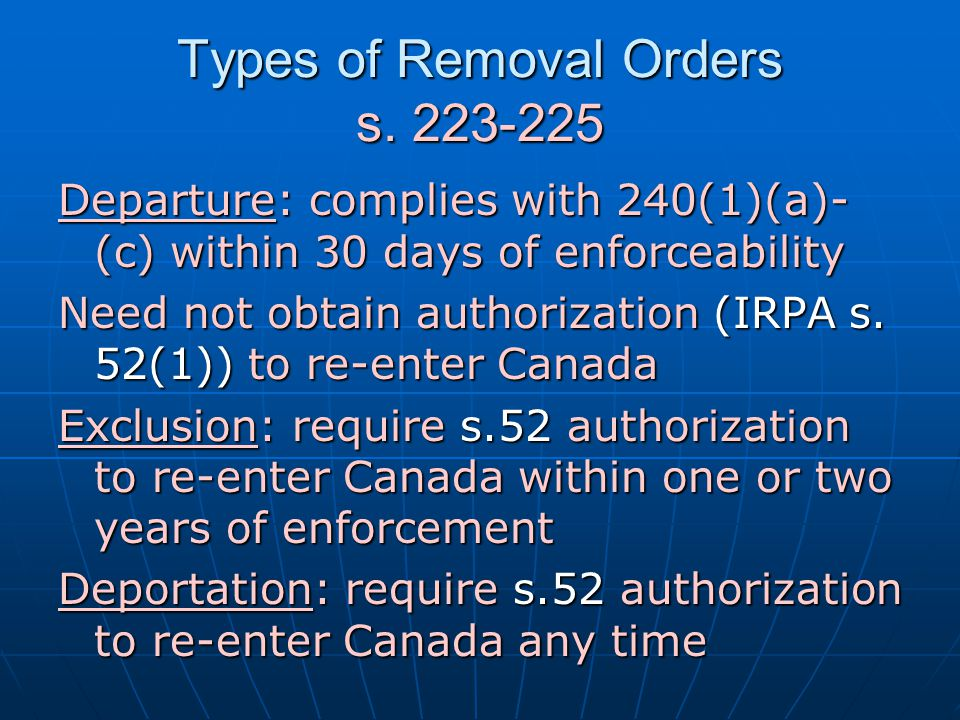 Types of Removal Orders s. 223-225