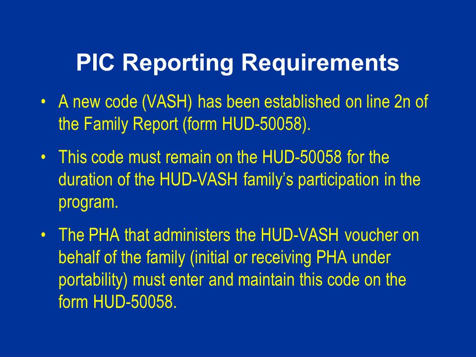 PIC Reporting Requirements