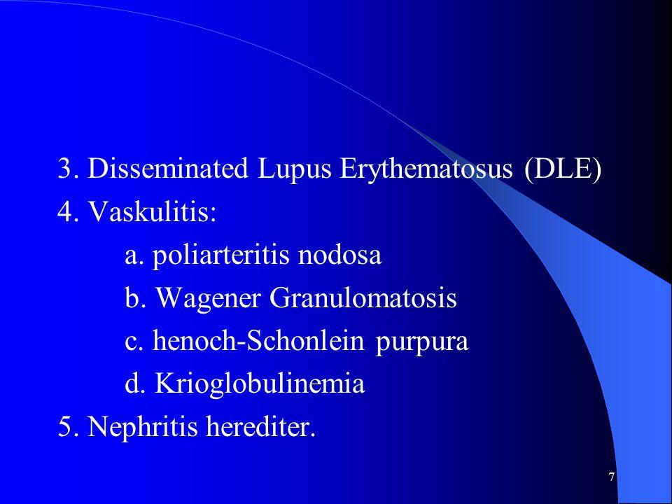 3. Disseminated Lupus Erythematosus (DLE)