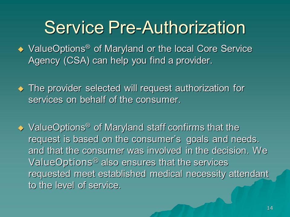 Service Pre-Authorization