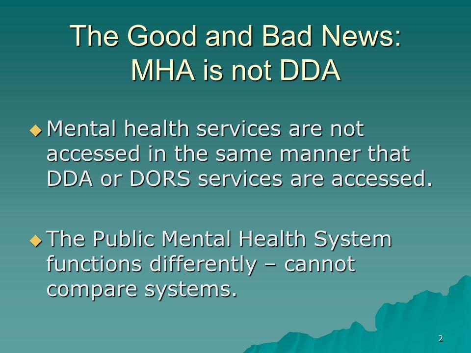 The Good and Bad News: MHA is not DDA