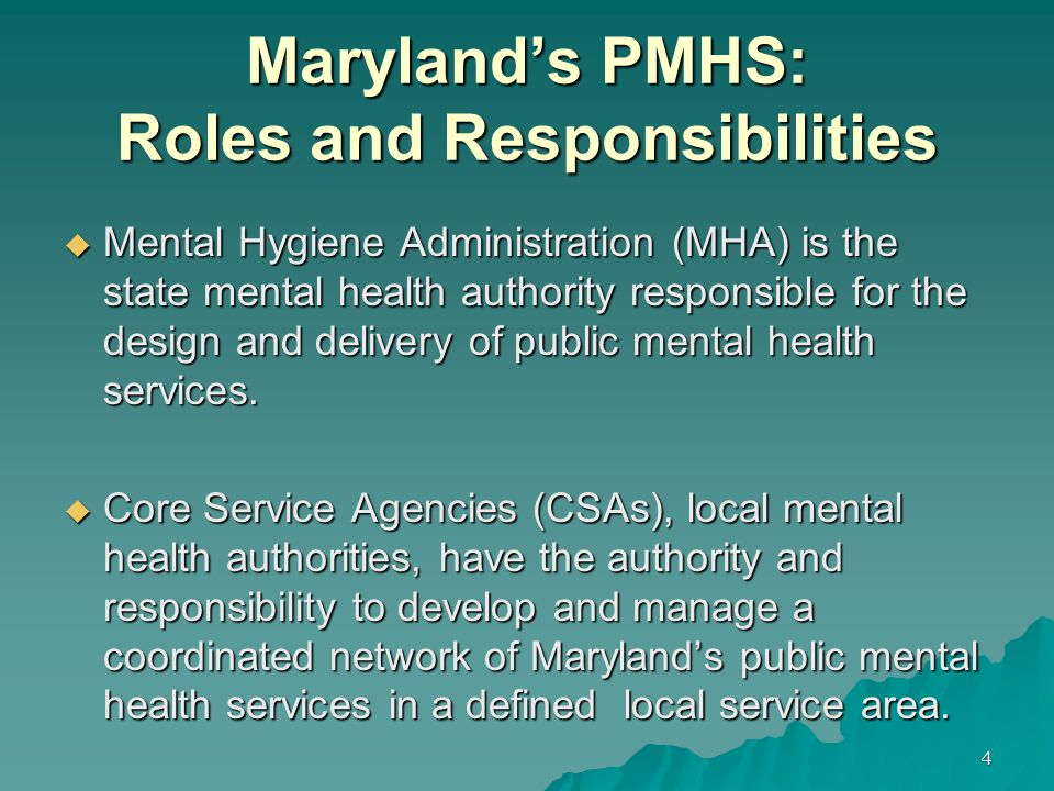 Maryland's PMHS: Roles and Responsibilities