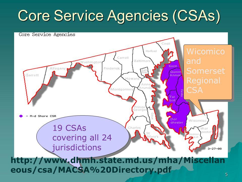Core Service Agencies (CSAs)
