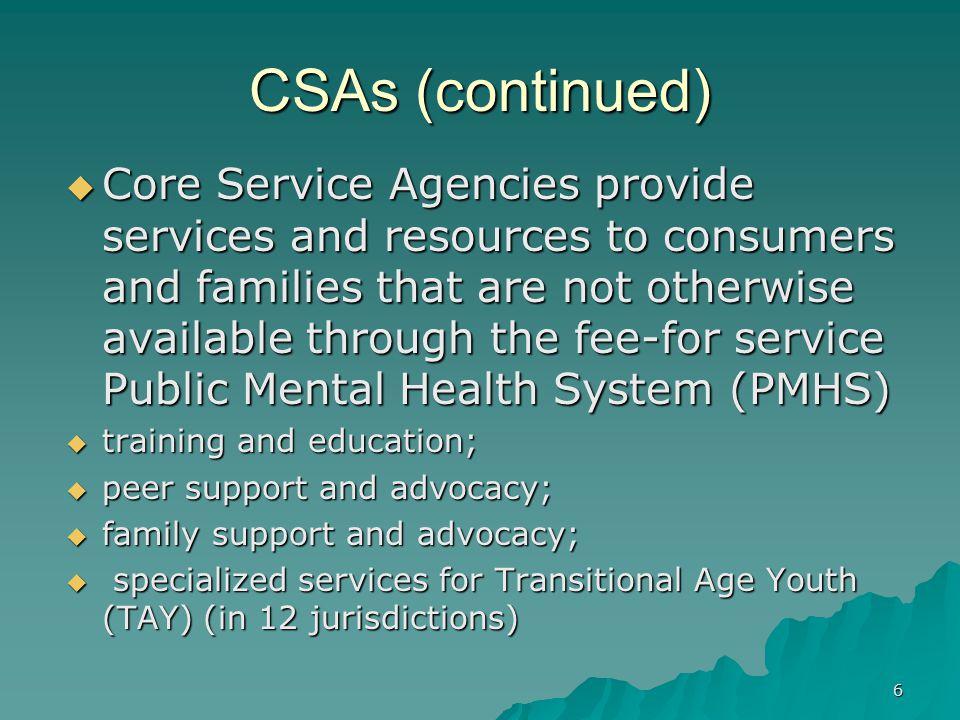 CSAs (continued)