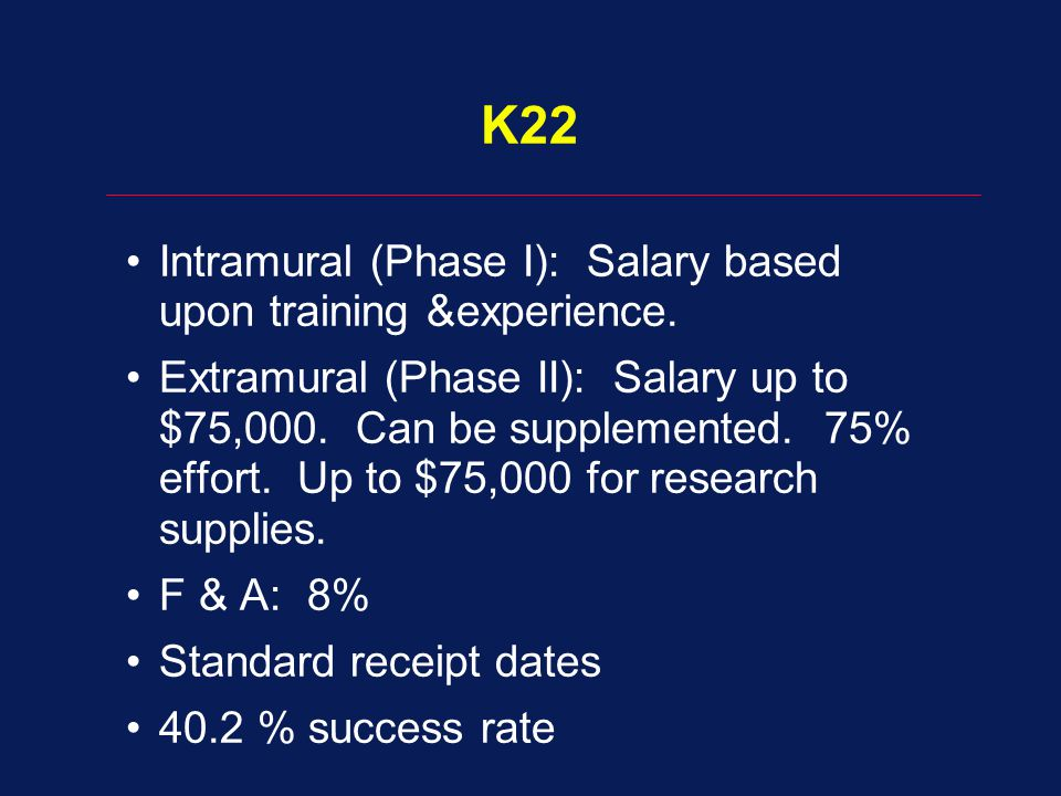 K22 Intramural (Phase I): Salary based upon training &experience.