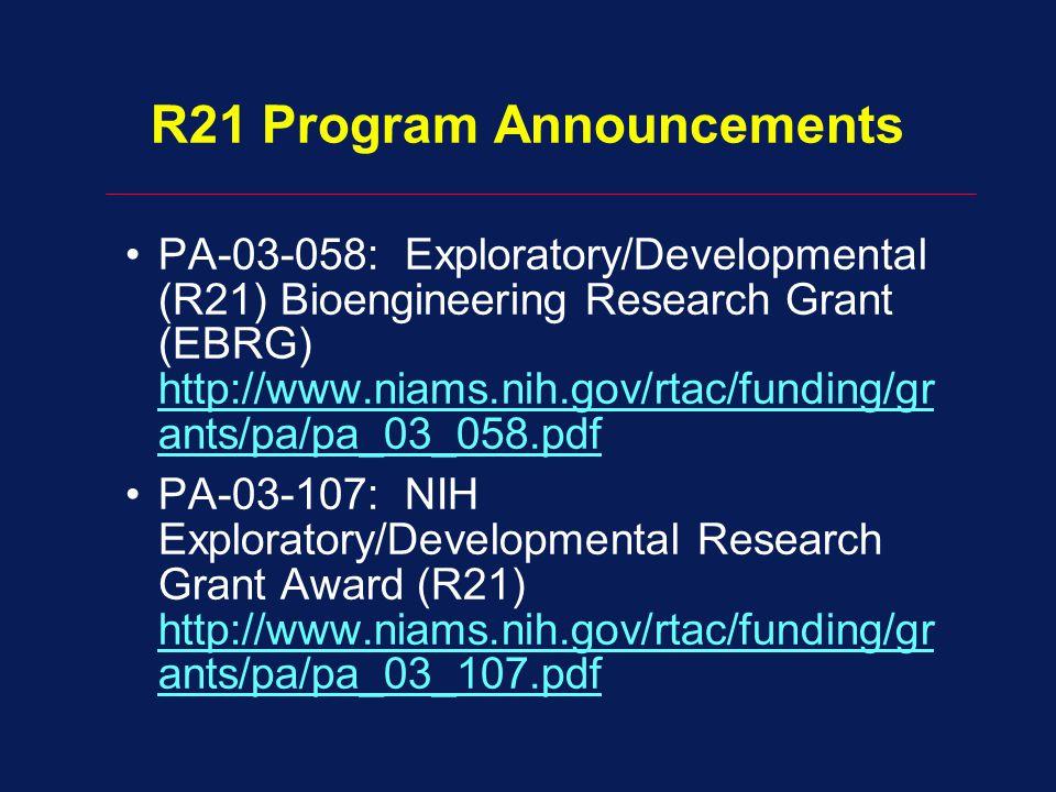 R21 Program Announcements