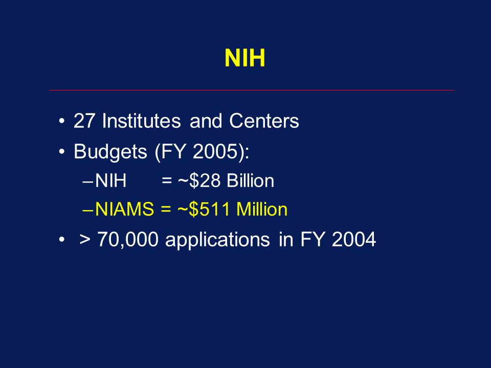 NIH 27 Institutes and Centers Budgets (FY 2005):