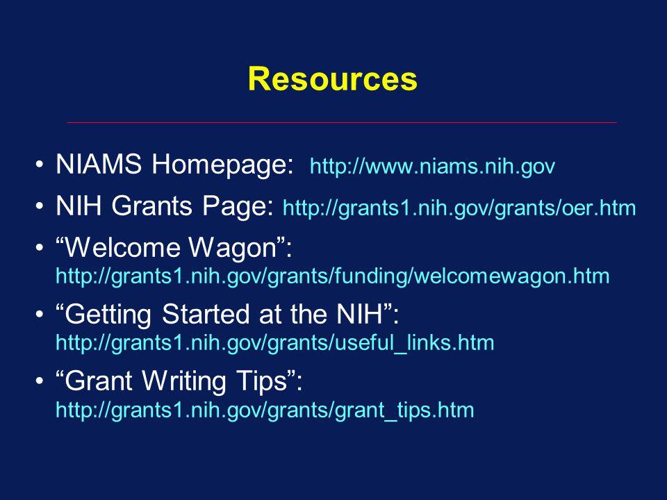 Resources NIAMS Homepage: http://www.niams.nih.gov
