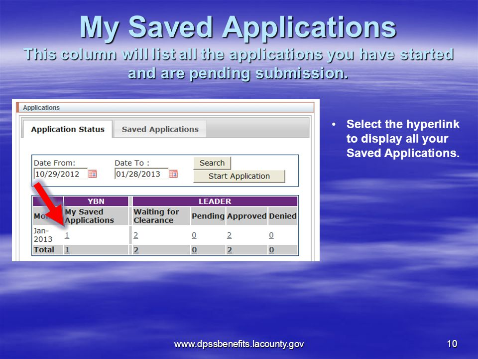 My Saved Applications This column will list all the applications you have started and are pending submission.