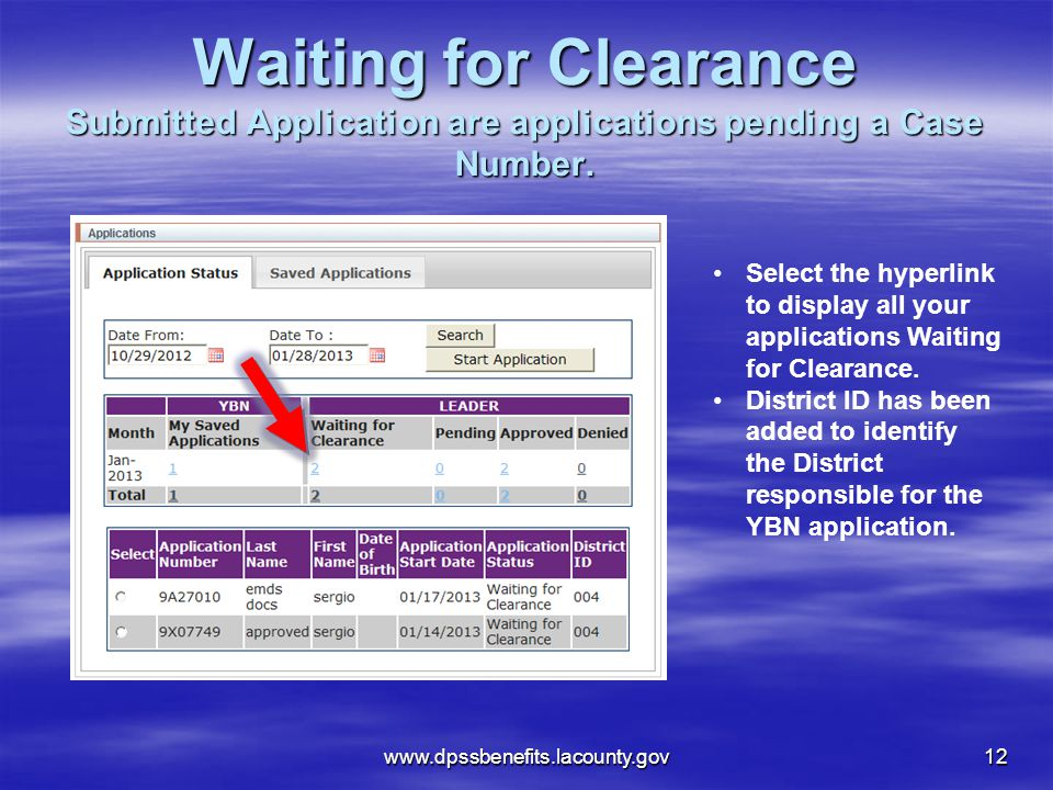 Waiting for Clearance Submitted Application are applications pending a Case Number.