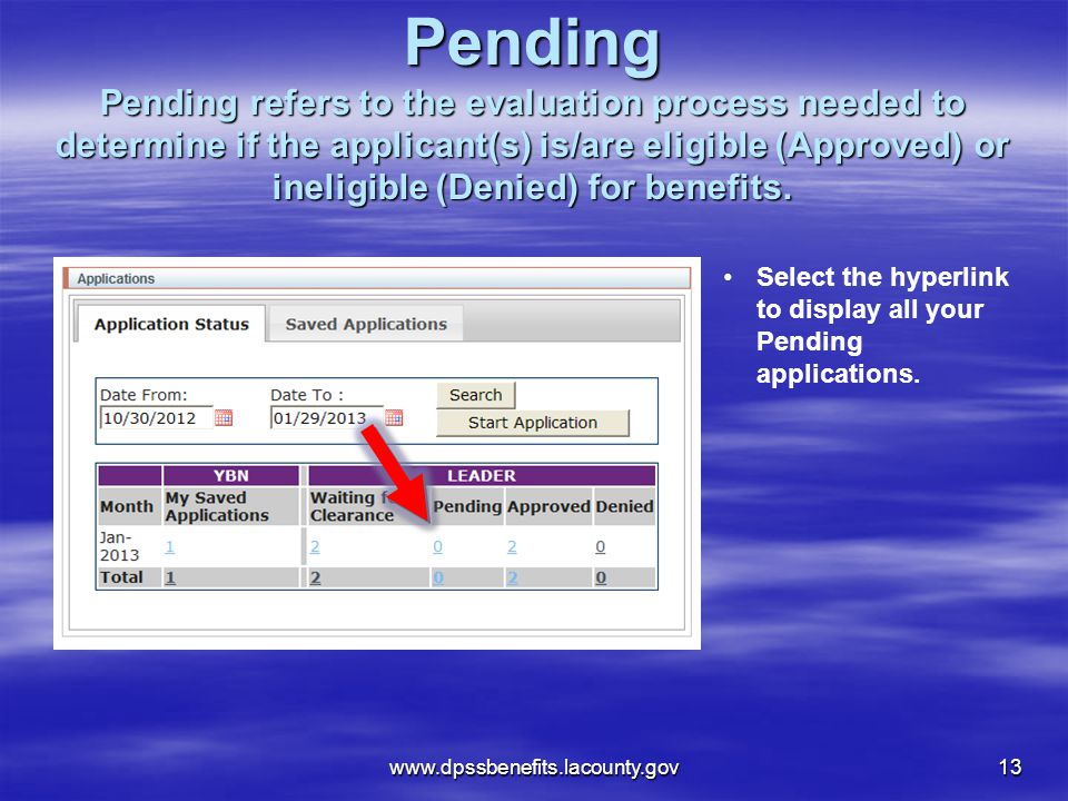 Pending Pending refers to the evaluation process needed to determine if the applicant(s) is/are eligible (Approved) or ineligible (Denied) for benefits.