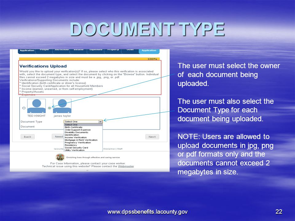 DOCUMENT TYPE The user must select the owner of each document being uploaded.
