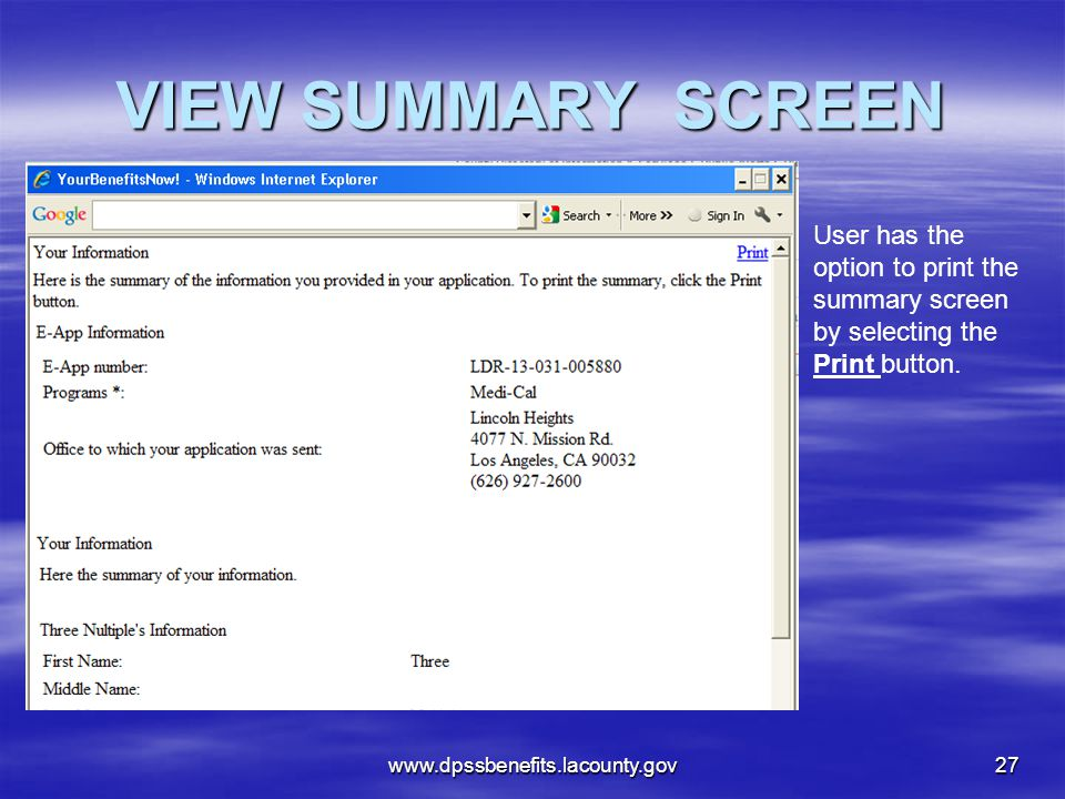 VIEW SUMMARY SCREEN User has the option to print the summary screen by selecting the Print button.