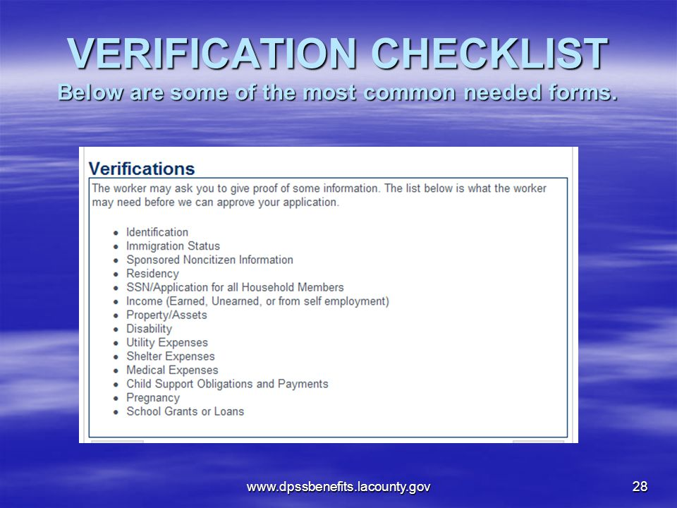 VERIFICATION CHECKLIST Below are some of the most common needed forms.