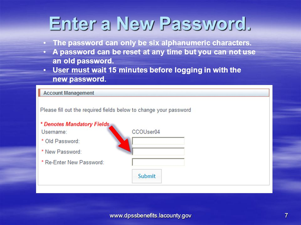 Enter a New Password. The password can only be six alphanumeric characters. A password can be reset at any time but you can not use an old password.