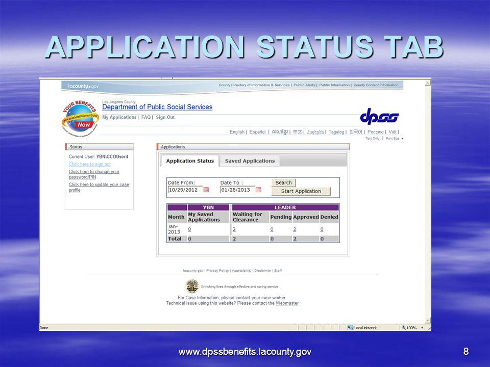 APPLICATION STATUS TAB