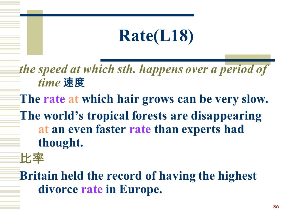 Rate(L18) the speed at which sth. happens over a period of time 速度