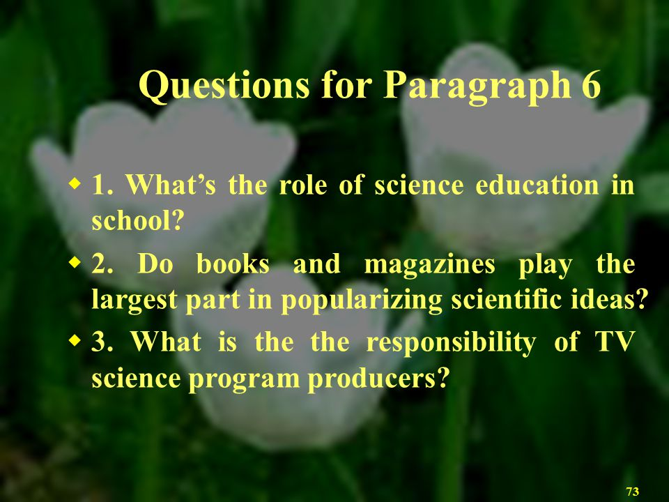 Questions for Paragraph 6
