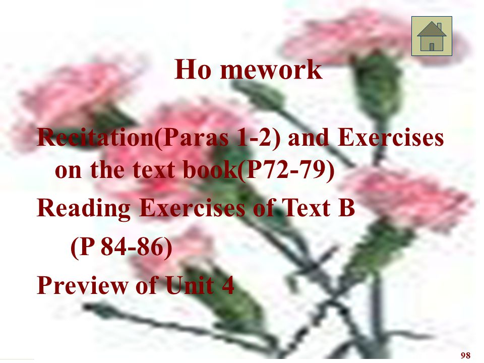 Ho mework Recitation(Paras 1-2) and Exercises on the text book(P72-79)