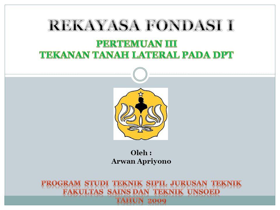 REKAYASA FONDASI I PERTEMUAN III TEKANAN TANAH LATERAL PADA DPT Oleh :