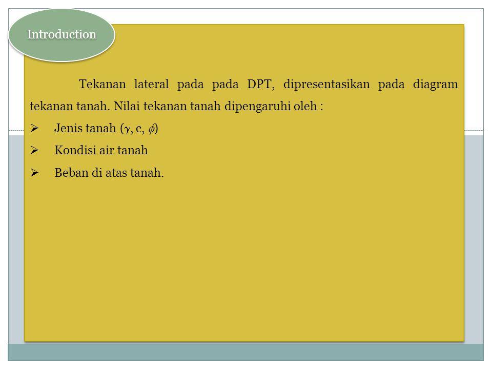 Introduction Tekanan lateral pada pada DPT, dipresentasikan pada diagram tekanan tanah. Nilai tekanan tanah dipengaruhi oleh :