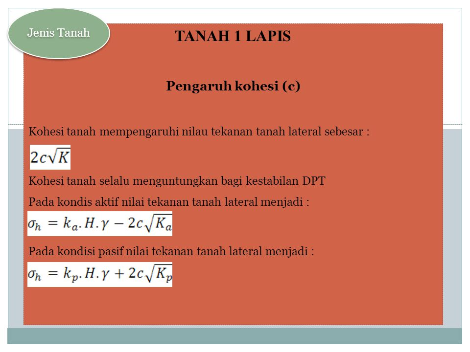 TANAH 1 LAPIS Pengaruh kohesi (c) Jenis Tanah