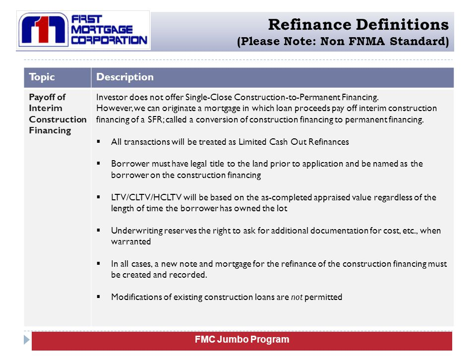 Refinance Definitions