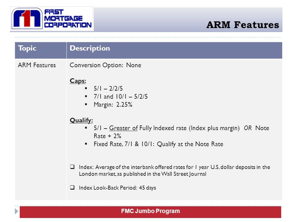 ARM Features Topic Description ARM Features Conversion Option: None