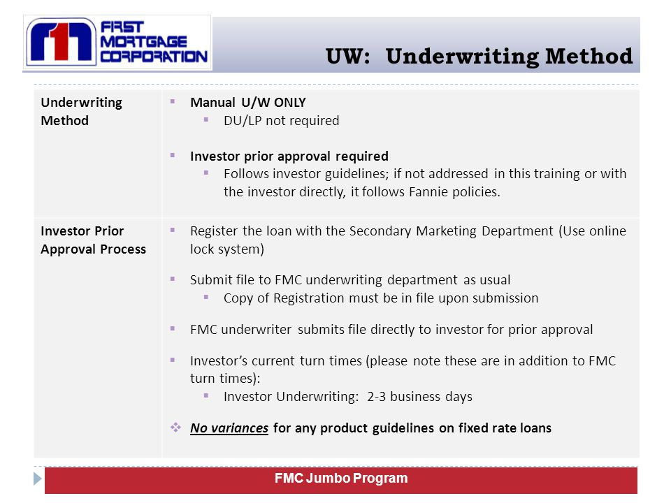 UW: Underwriting Method