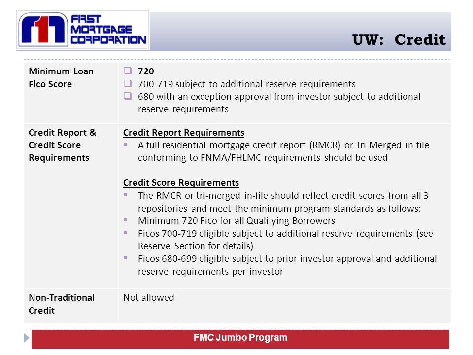 UW: Credit Minimum Loan Fico Score 720