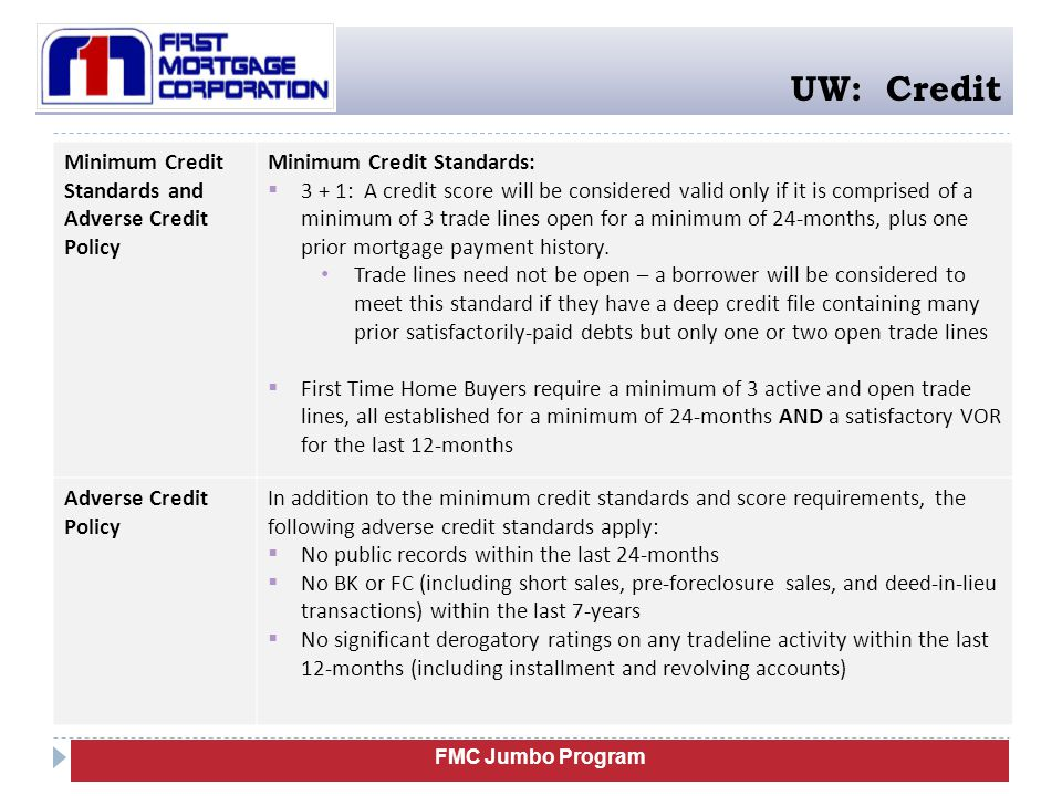 UW: Credit Minimum Credit Standards and Adverse Credit Policy