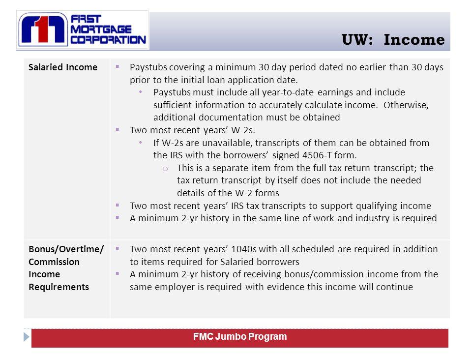 UW: Income Salaried Income