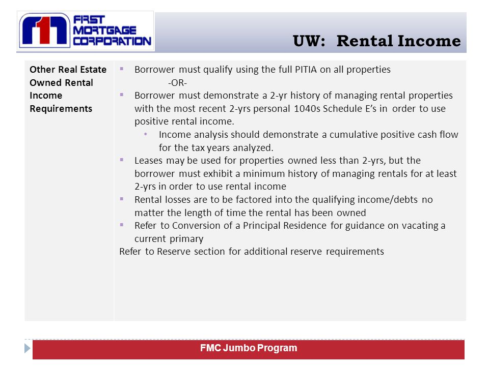 UW: Rental Income Other Real Estate Owned Rental Income Requirements